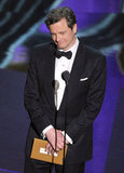 Colin Firth onstage at the 2012 Oscars.