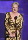 Meryl Streep steps onstage to accept her best actress award.
