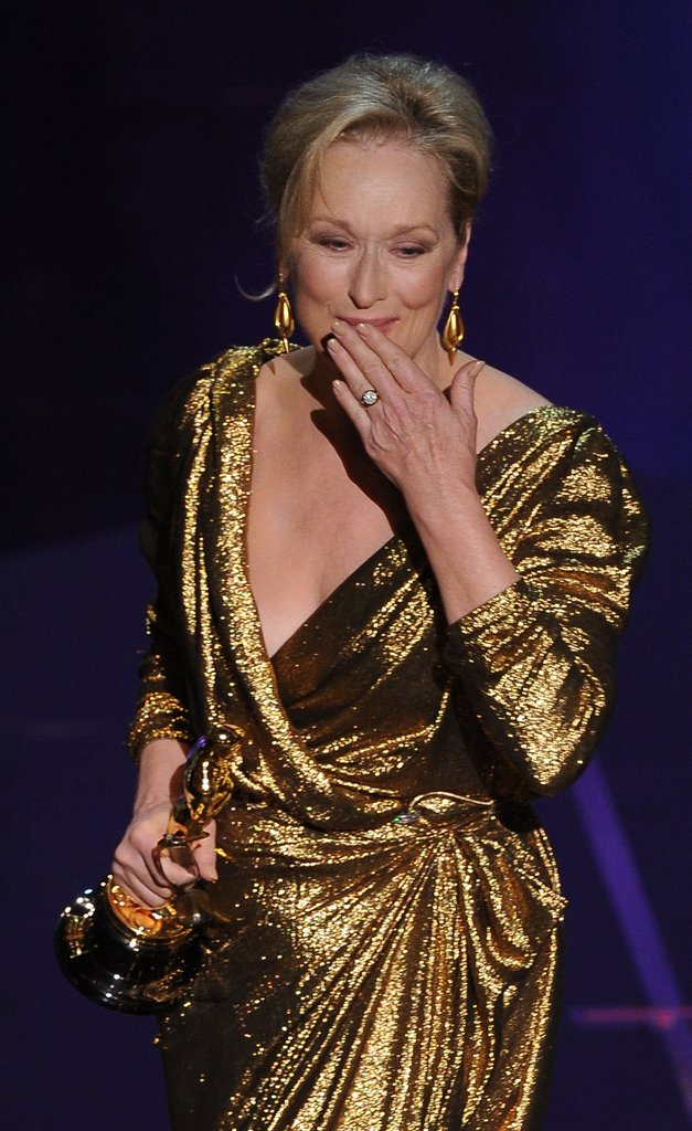 Meryl Streep blew a kiss while exiting the stage.