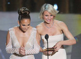 Jennifer Lopez and Cameron Diaz presented best costume design and best makeup.