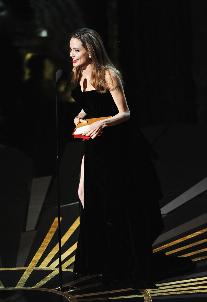 Angelina Jolie in a black gown.