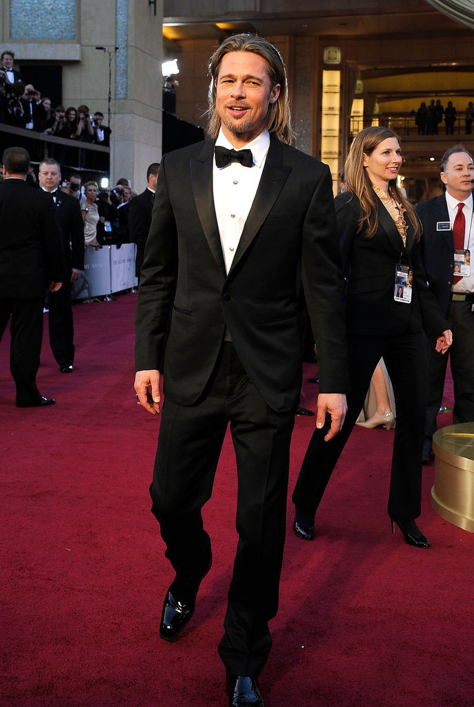 Brad Pitt looked sophisticated in a black tuxedo and bow tie.