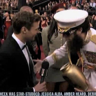 Sacha Baron Cohen Spilling Ashes on Ryan Seacrest Video