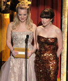 Bridesmaids actresses Wendi McLendon-Covey and Ellie Kemper presented an award together.