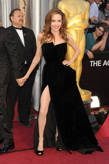Angelina Jolie in a black gown at the Oscars.