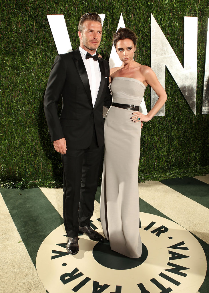 David Beckham and Victoria Beckham look black-tie chic for the afterparty.