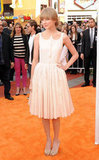 Taylor looked pretty in light pink at the premiere of The Lorax.
