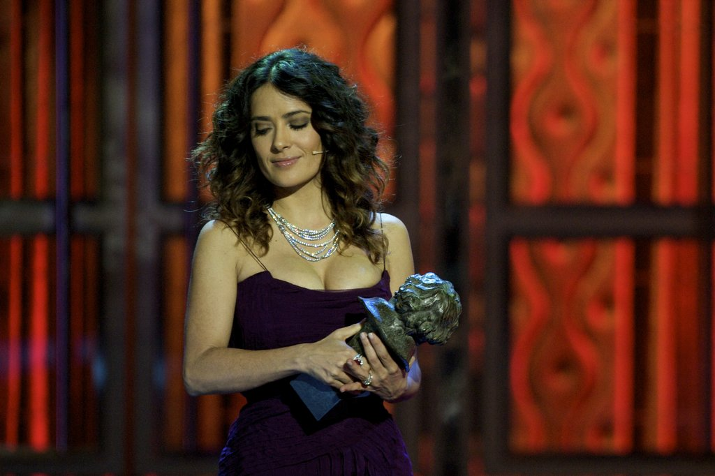 Salma Hayek presented an award at the Goya Awards in Madrid.