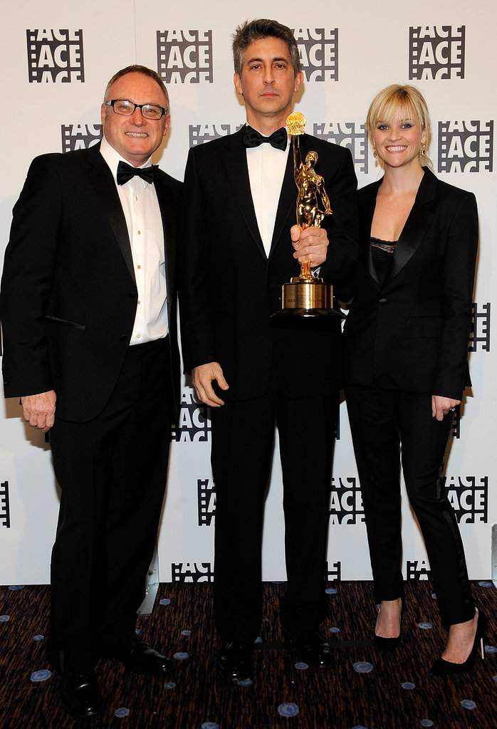 Kevin Tent, Alexander Payne and Reese Witherspoon posed in the press room at the ACE Eddie Awards in LA.