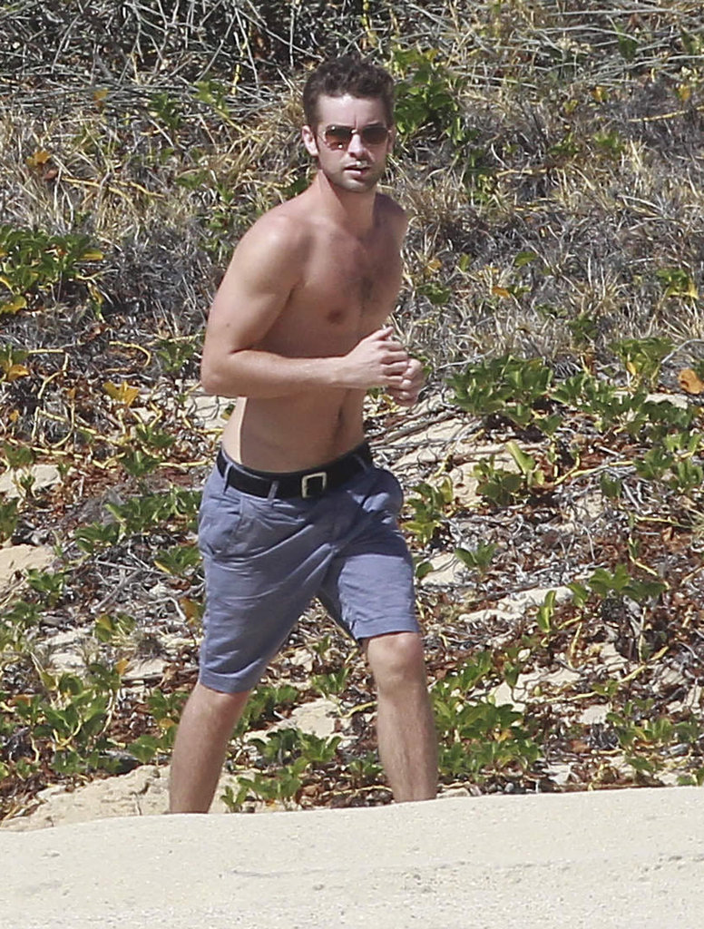 Chace Crawford ran on the beach shirtless.