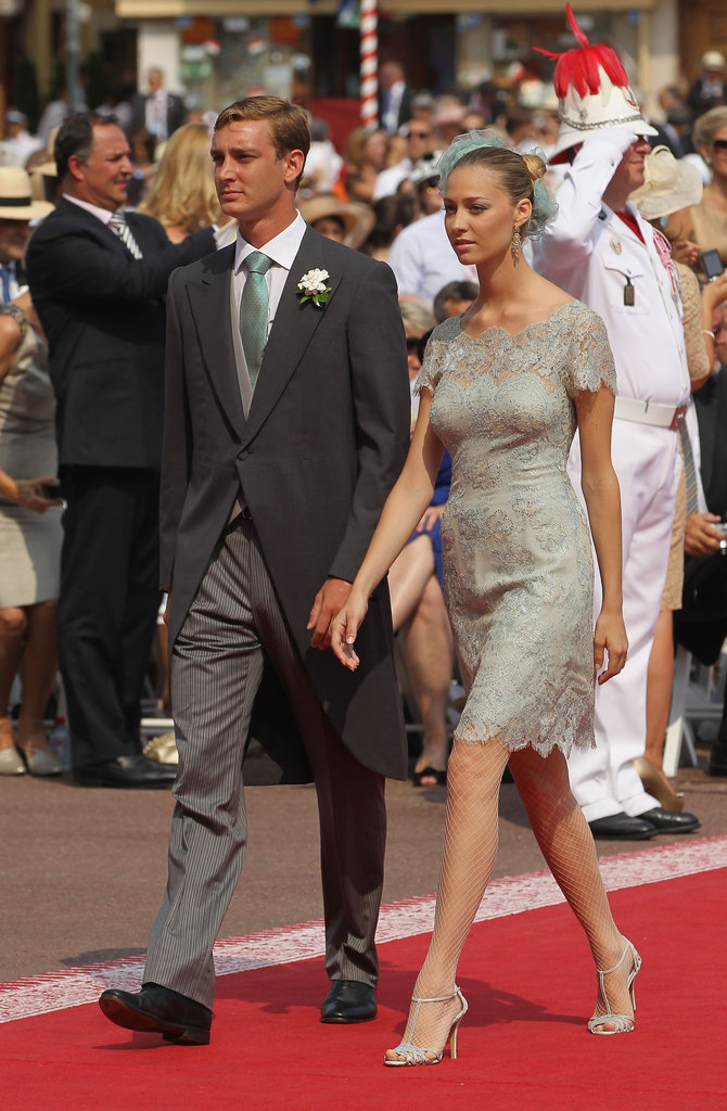 Prince Pierre Casiraghi arrives with girlfriend Beatrice Borromeo for the religious wedding of Prince Albert II of Monaco and Princess Charlene of Monaco last Summer.