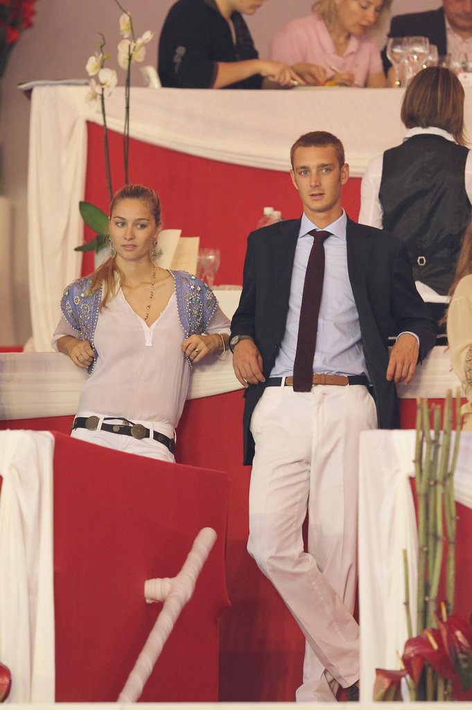 Pierre Casiraghi and Beatrice Borromeo attend a jumping event in 2010.