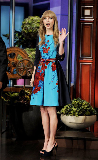 Taylor Swift Busts Out a Bright Blue Dress to Talk Love on The Tonight Show
