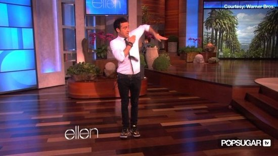 "Video: Justin Theroux Says Jennifer Aniston Is ""Obsessed"" With His Break Dancing — See Him Bust a Move!"