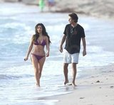 Kim Kardashian wore a bikini on the beach with Jonathan Cheban.
