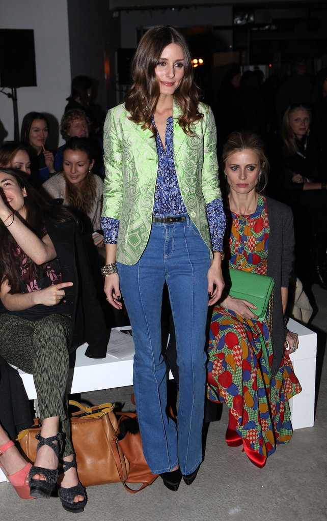 Olivia Palermo dressed up a flared-jean look with a pastel jacquard blazer at the Jonathan Saunders show.