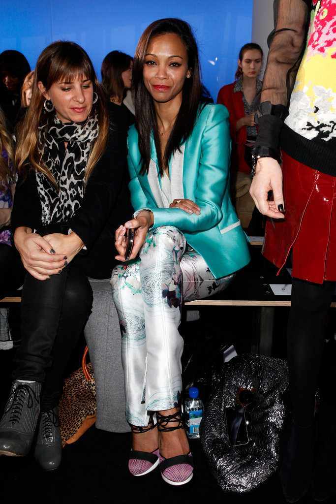 Zoe Saldana wore Prabal Gurung floral pants and a turquoise blazer at the brand's runway show during NYFW.   More James Perse...