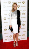 Malin Akerman donned a gorgeous printed J. Mendel dress with sexy black sandals.