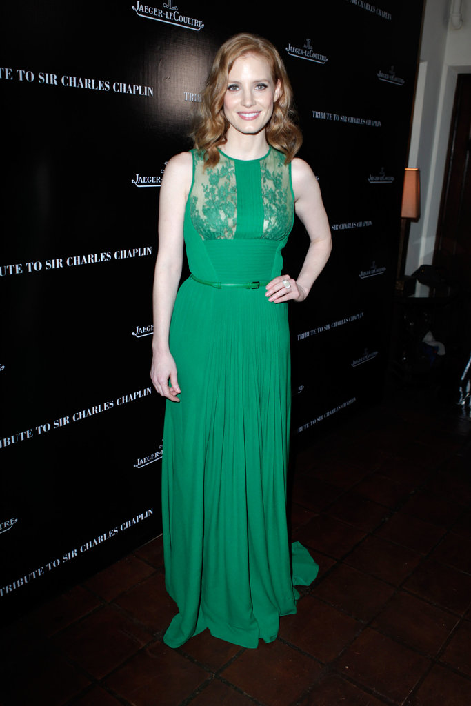 Jessica Chastain wore a long green dress.