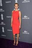 Amber Valletta looked ultrasleek in a minimalist, albeit brightly hued, sheath.