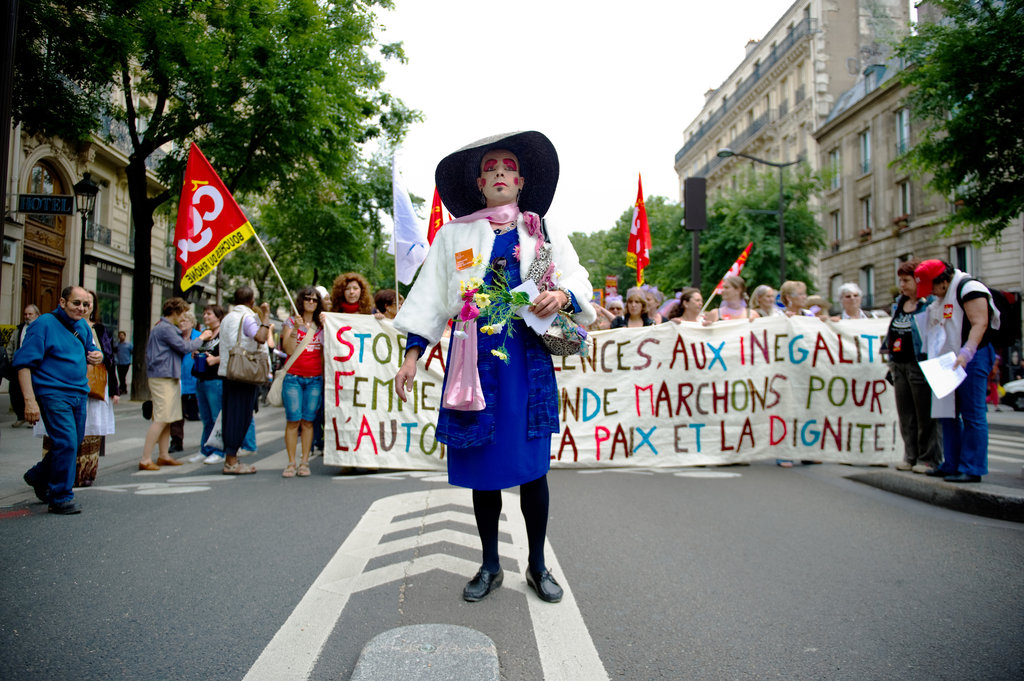 A pro-feminist demonstration marches to protect women's rights and fight against prostitution in 2010.