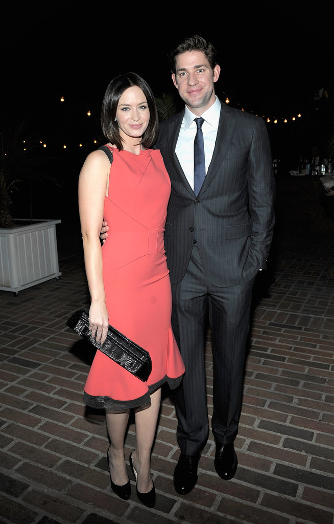 John Krasinski posed with wife Emily Blunt.