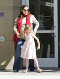 Jennifer Garner and Violet Affleck at the library.