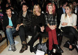 Kate Moss and Jamie Hince watched the James Small show with Alison Mosshart and Jo Wood.