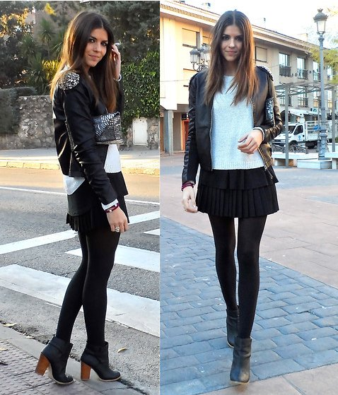 The perfect way to take your pleated mini from day to night, Winter to early Spring: add tights and a go-with-anything knit, and style it up with ankle boots and an embellished leather jacket.  4775849 Photo courtesy of Lookbook.nu