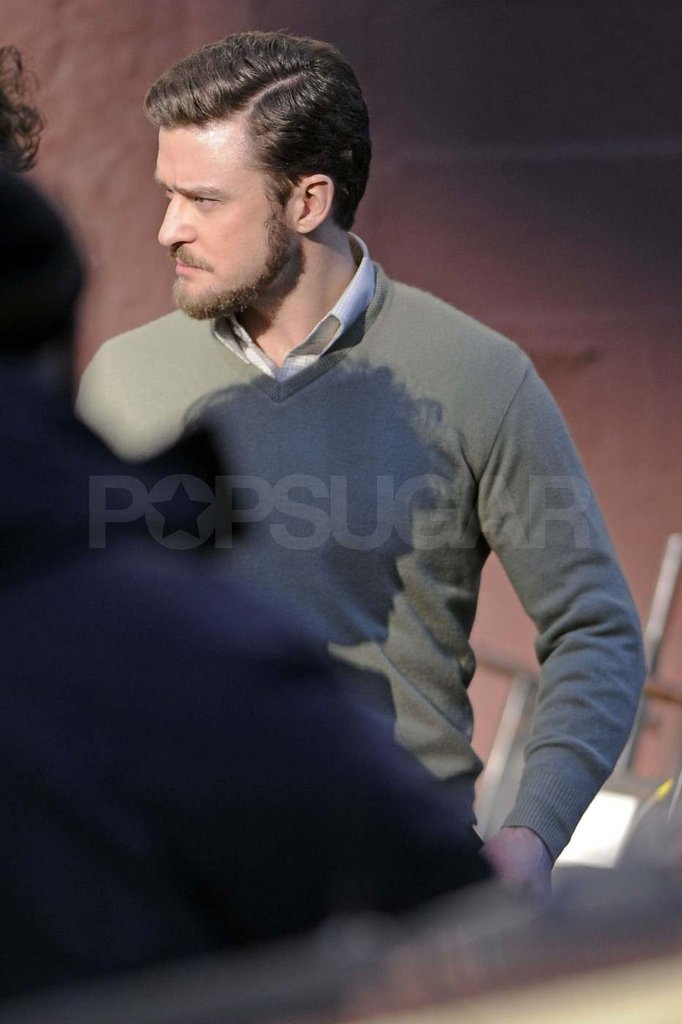 Justin Timberlake on set in NYC.