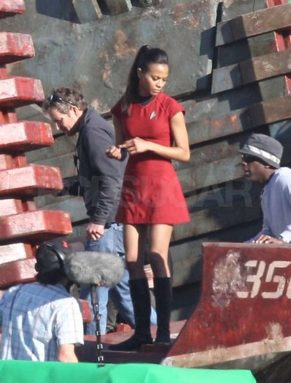 Zoe Saldana wore her red Star Fleet uniform.