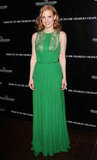 Jessica Chastain dazzled in Elie Saab at a pre-Oscars fête.