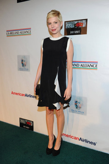 Michelle Williams wore a black-and-white Givenchy dress with Yves Saint Laurent platform pumps at the Oscar Wilde: Honoring the Irish in Film event. Want to create your own standout black-and-white ensemble? Check out our easy how-to video here.