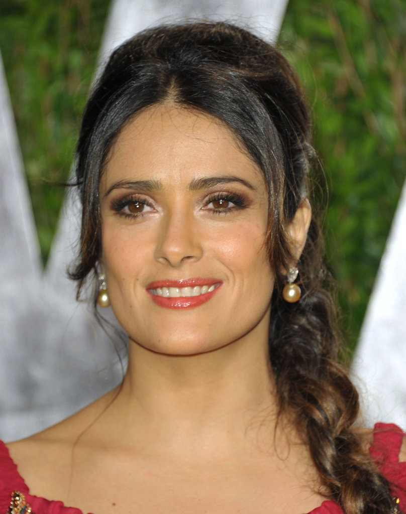 Salma Hayek with a long braid at the Vanity Fair party.