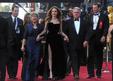 Angelina Jolie swept down the carpet with Brad Pitt's parents, Bill and Jane.