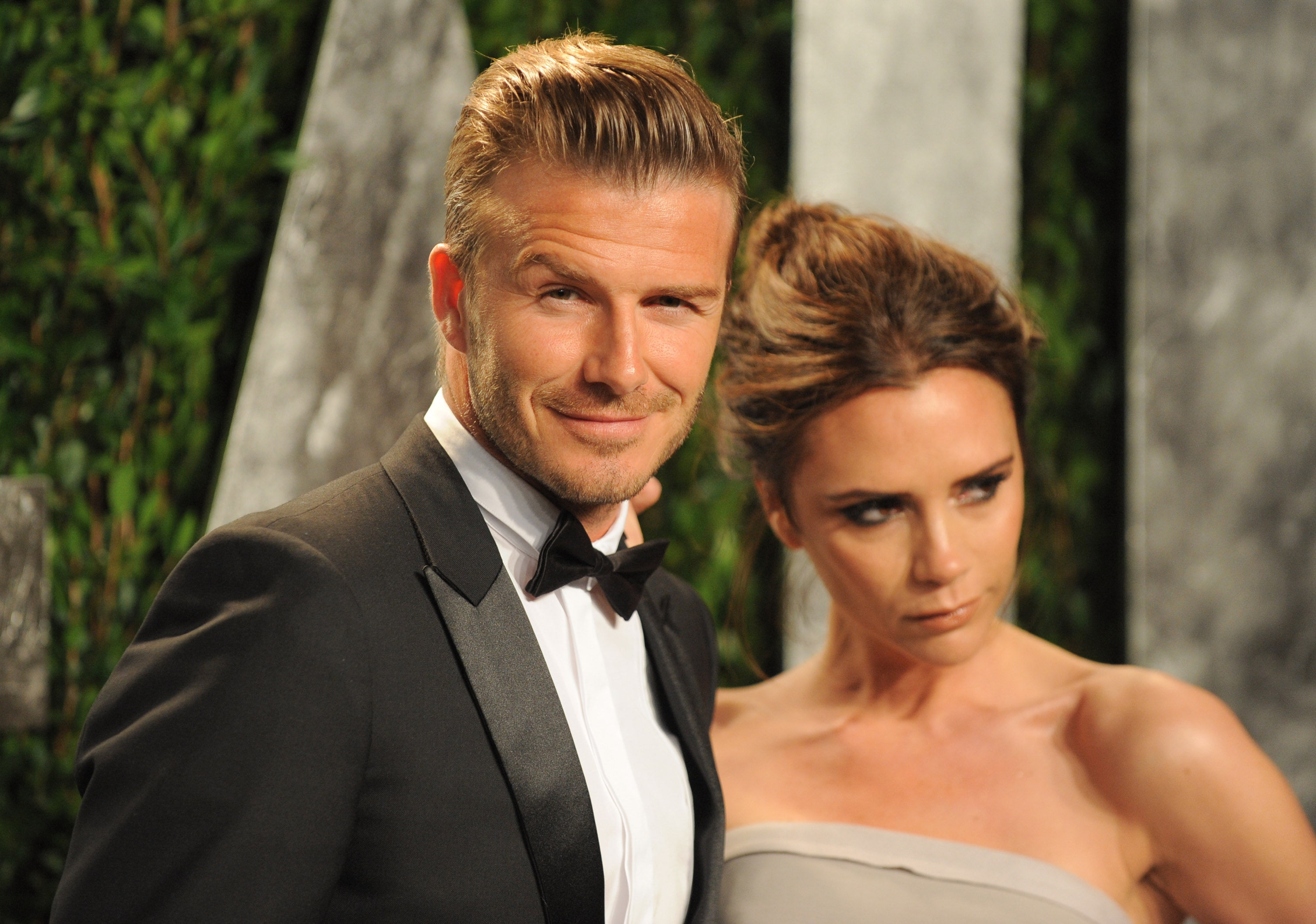 David and Victoria Beckham pick the perfect angle for the cameras.