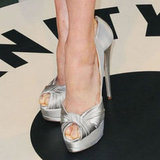 Amy Adams's silver pumps mirrored the metallic of her Vivienne Westwood frock.