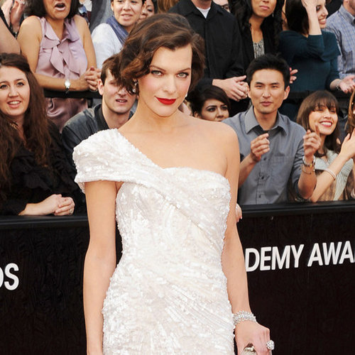 Milla Jovovich Elie Saab Dress Pictures at 2012 Oscars