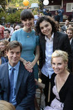 Peter Krause as Adam, Sarah Ramos as Haddie, Max Burkholder as Max, and Monica Potter as Kristina on Parenthood.