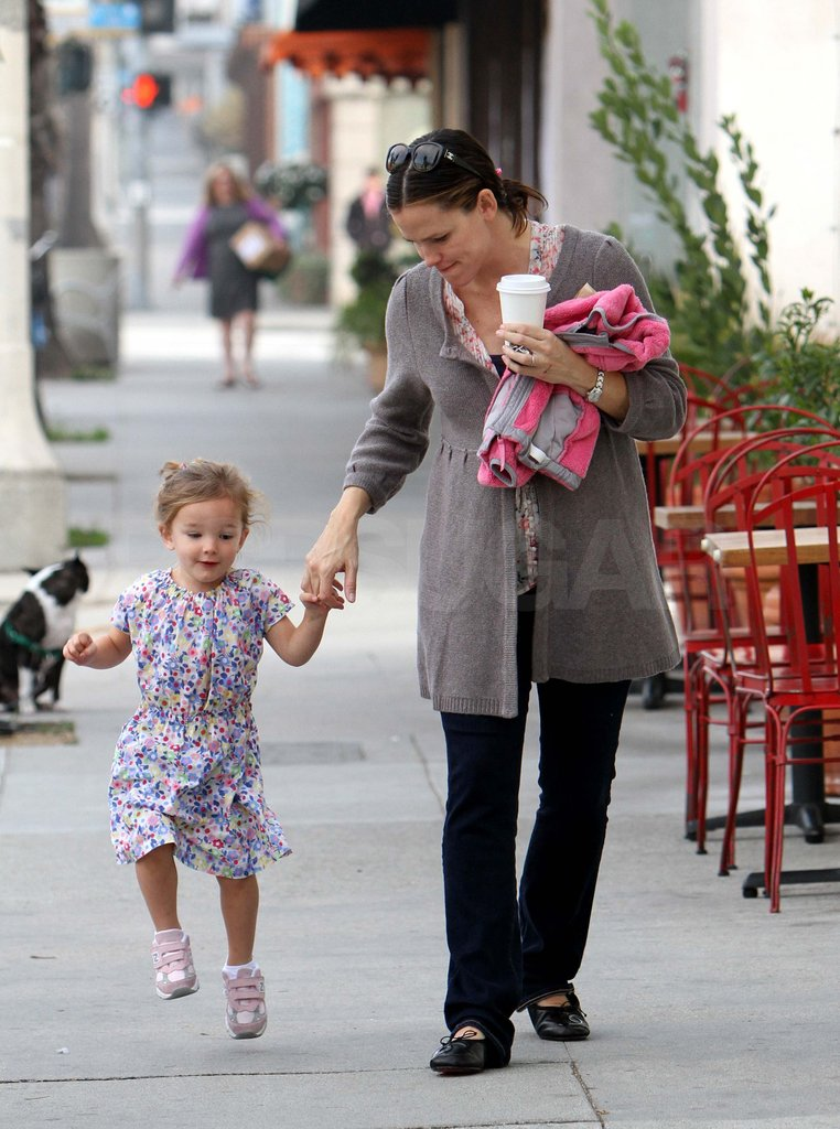 Seraphina skipped along next to mom Jennifer Garner in LA in 2011.