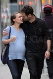Pregnant Natalie Portman and Benjamin Millepied kissed in May 2011 during an NYC stroll.