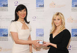 Reese Witherspoon with Avon CEO Andrea Jung.