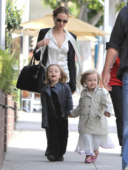 Angelina Jolie took twins Knox and Vivienne to lunch in LA Sunday.
