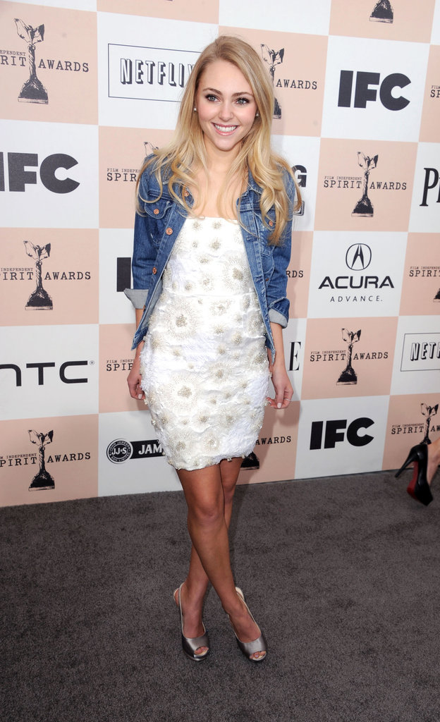 At last year's Independent Spirit Awards, AnnaSophia showed off a casual-cum-dressy look by pairing a white beaded dress with a cool denim jacket.                   Day Dresses by French ConnectionWedges by KORS