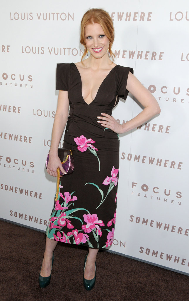 Jessica opted for a bold floral-print Louis Vuitton dress at the Somewhere premiere in LA in 2010.