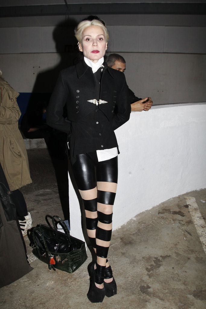 Daphne Guinness opted for a choppy pair of leather pants at Gareth Pugh.