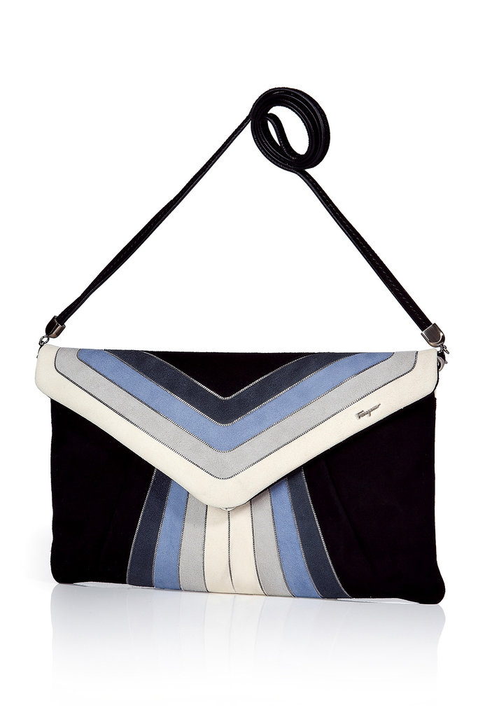 """I've loved this bag since I saw SJP sport a similar version; it's got all my favorite colors and the most beautiful metallic piping on rich navy suede, plus it goes from clutch to shoulder bag in a pinch!"" — Noria Morales, editor Salvatore Ferragamo suede clutch with shoulder strap ($1,210)"