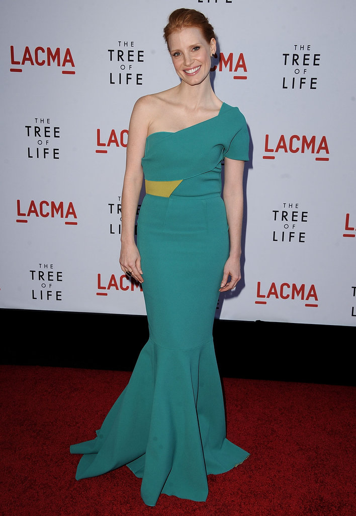 Jessica opted for a one-shouldered teal Roland Mouret gown at The Tree of Life premiere in LA.