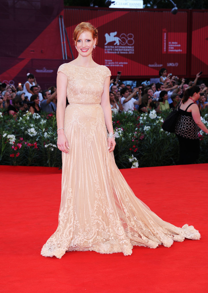 Jessica hit the Venice Film Festival red carpet in this stunning champagne-hued Elie Saab in 2011.