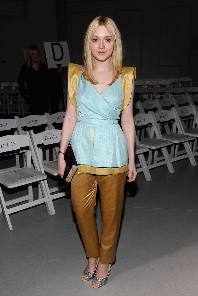 Dakota Fanning accessorized her Rodarte ensemble with subtle shine.